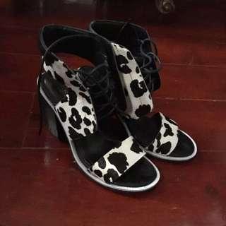 Senso Riley V Chalk Pony Leopard Lace Up Heels 36