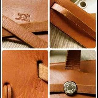 Hermes愛馬仕Herbag Shopping & Travel bag In Beige Canvas And Natural Leather真皮+帆布+肩背+手提包(大+小可替換使用)