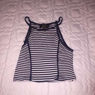 NAVY BKUE STRIPED MIDRIF