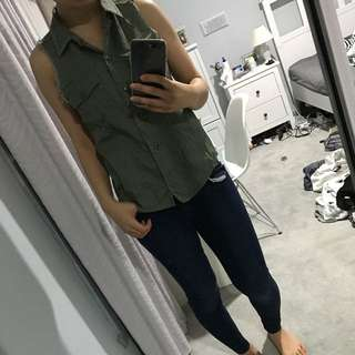 Sportsgirl Army Green Vest Top AU8