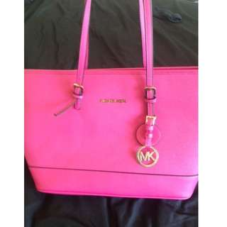 Michael Kors tote- pink with gold hardware