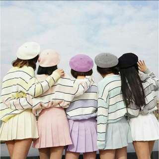 粉色橫條針織上衣
