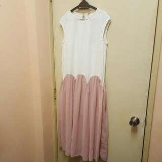 Padini Dress (White & Dusty Pink)