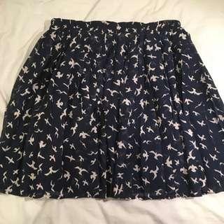 Navy Pleated Skirt With Birds