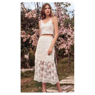 BNWT The Closet Lover TCL Shanna Embroidered Midi Skirt in White (Size M)