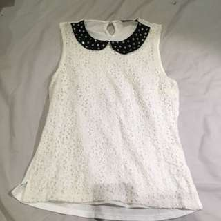 White Lace Top With Peter Pan Collar