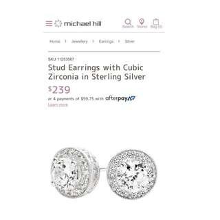 Stud Earrings With Cubic Zirconia stones