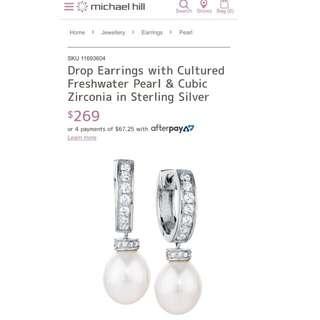 Drop Earrings With Cubic Zirconia Stones