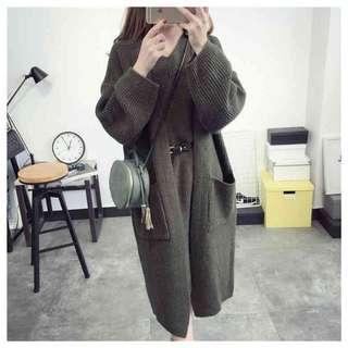 🚫針織套裝 墨綠色 外套+洋裝 附腰帶