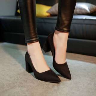 Suede Pointed Thick Heels