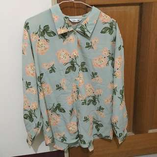 超美古著花襯衫綠色