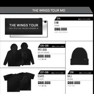 BTS Wings Concert Merchandises
