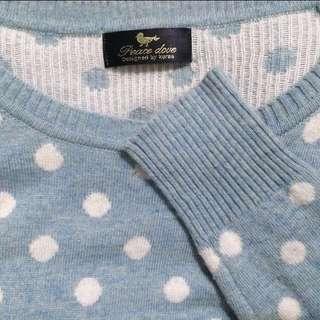藍色點點羊毛衣