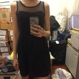 全新 透膚黑色洋裝