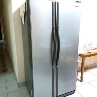Samsung 2doors fridge Model RS20NAMS. Lots of space. Selling Cheap. Dim: L85xW67xH172cm Good working condition. Self collect at Hillview area.  28Feb-2Mar. Reason for selling.. moving out to new house with new fridge.