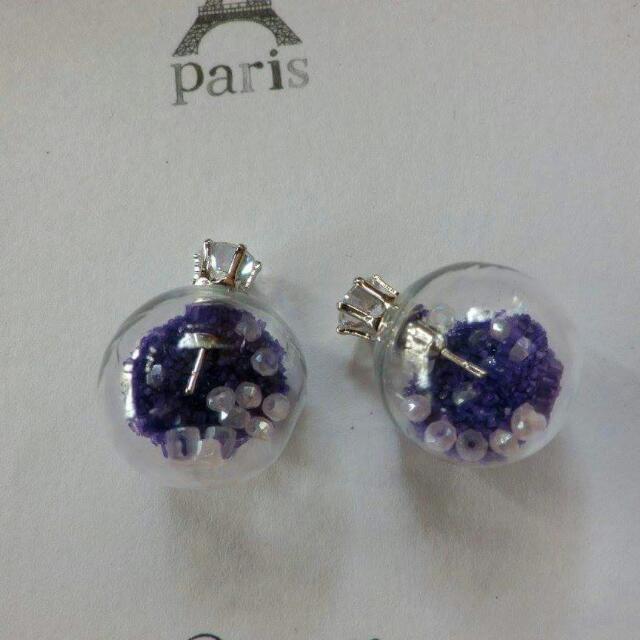 透明泡泡紫色珠珠夢幻耳環