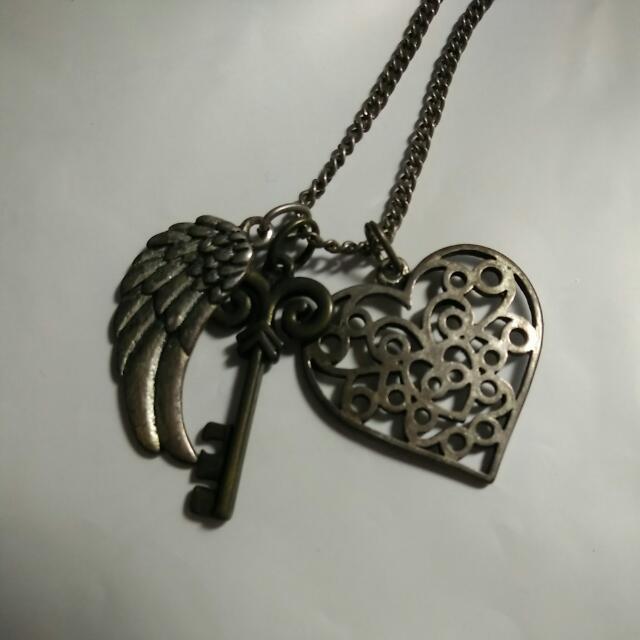 復古愛心羽毛鑰匙項鍊