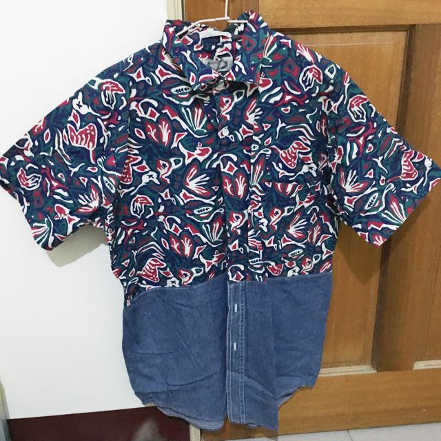 古著美式拼接襯衫