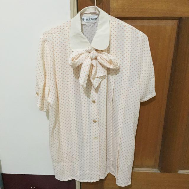 古著粉色點點襯衫