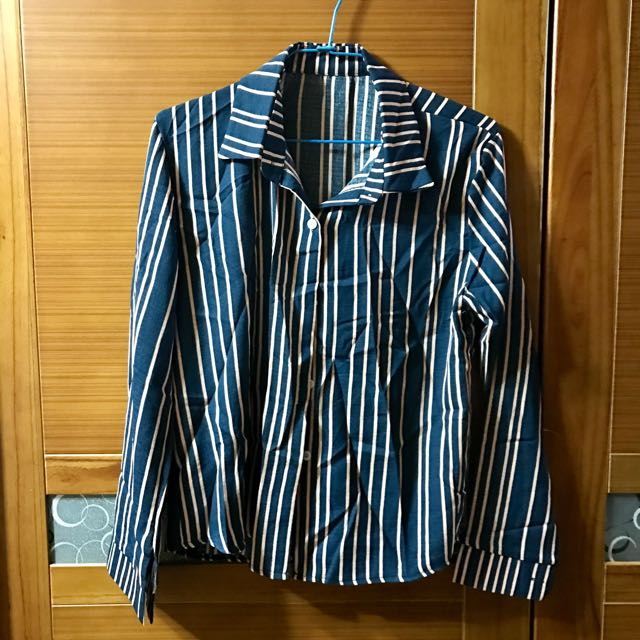 (含運)直條紋襯衫 深藍