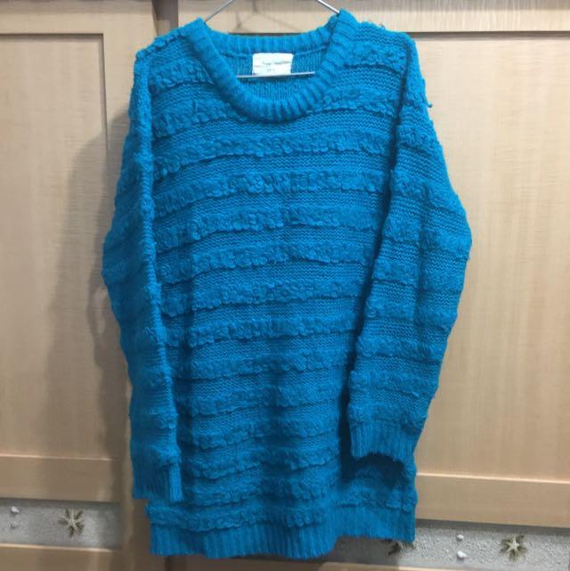 韓製 湖水藍 毛衣