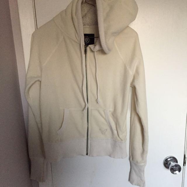 American Eagle white zip up hoodie