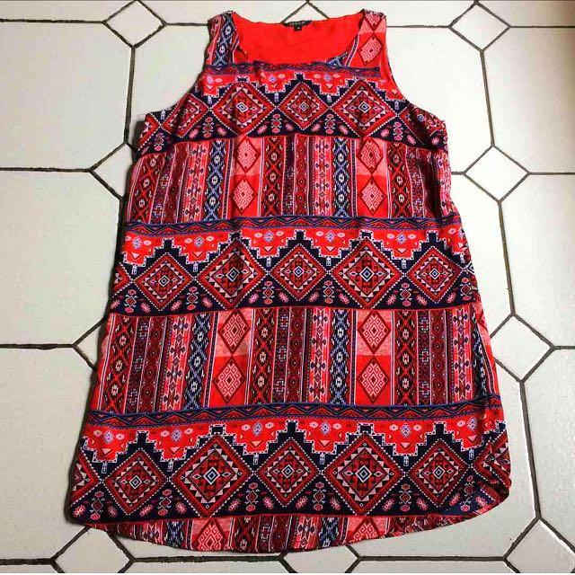 Aztec Print Red Shift Dress