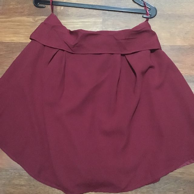 BERRYBENKA marron ribbon back skirt