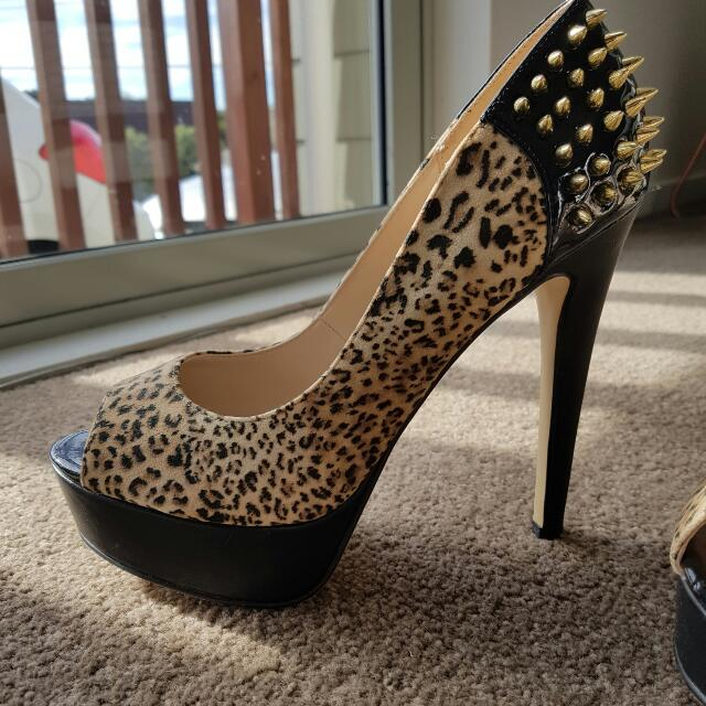 Betts Leopard Studded Heels