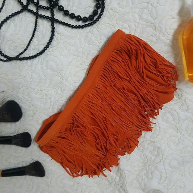 Bikini Bandeau Fringe - Orange