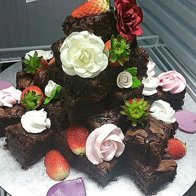 Excellent Birthday Brownie Tower Food Drinks Baked Goods On Carousell Personalised Birthday Cards Beptaeletsinfo