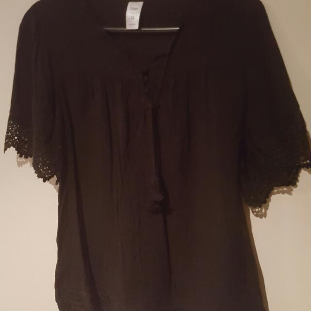 Black Lace Edge Top Size 10
