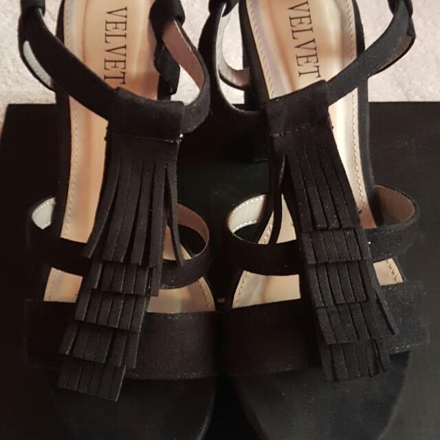 Black Velvet Fringed Platform Heels
