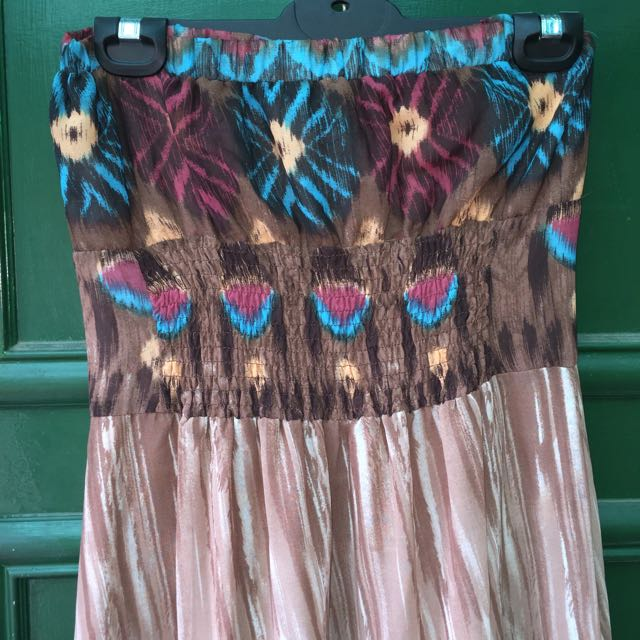 Brown Patterned Maxi Dress