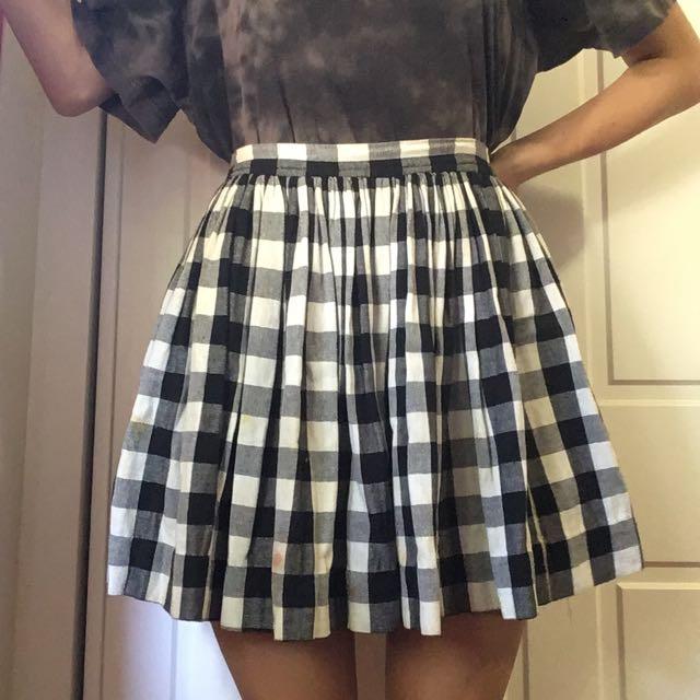 B&W Plaid Skirt