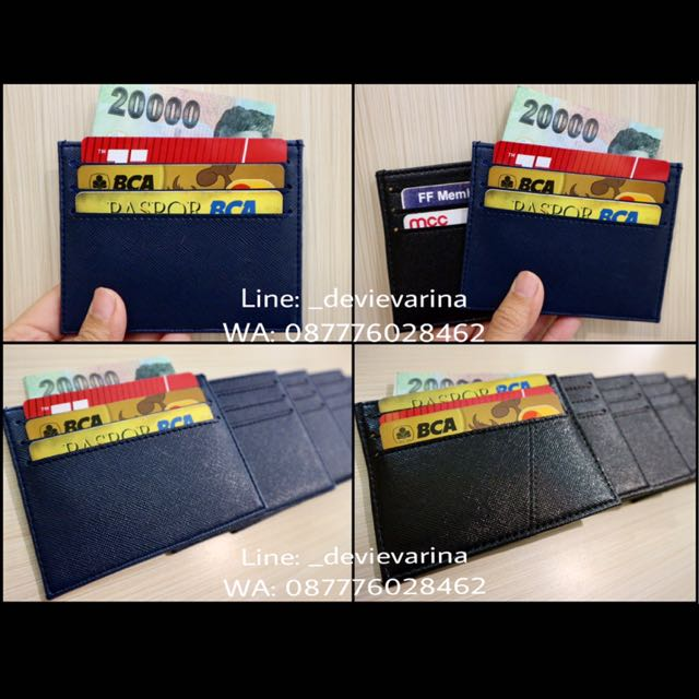 Card Holder Kulit Saffiano Navy Black