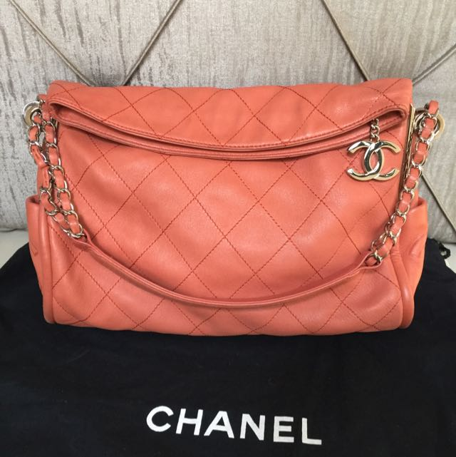 Chanel 粉橘羊皮鍊包 肩背包