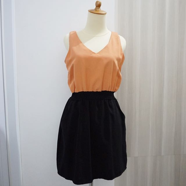 Color Block Mini Dress With Pocket