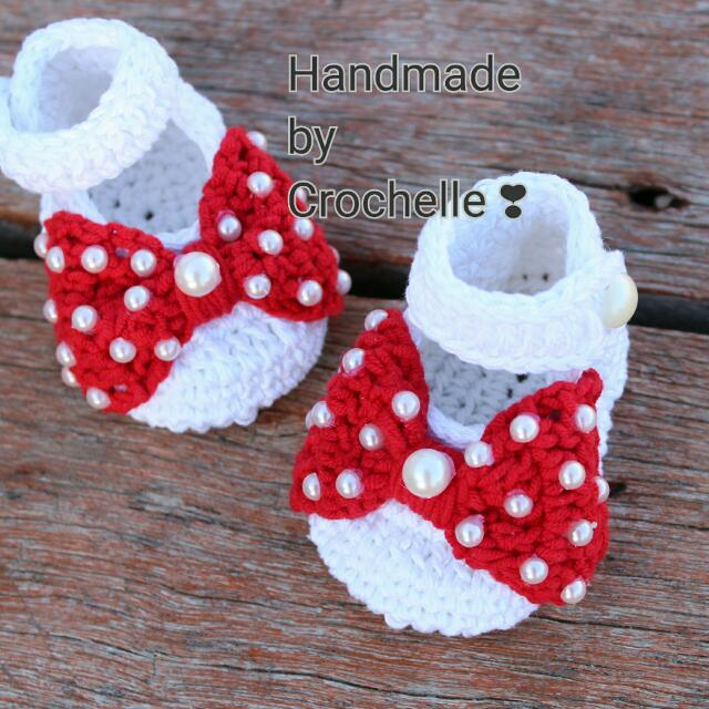 Crochet Baby Ribbon Shoes