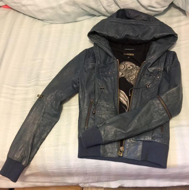 DANIER Leather jacket W/ hood