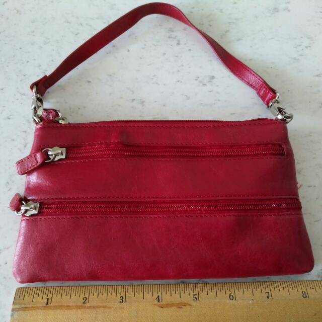 BNWOT Danier Red Leather Wallet/Wristlet/Purse