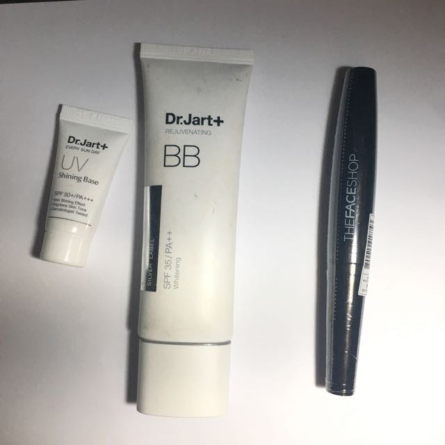 dr jart bb cream + uv shining base + new mascara face shop