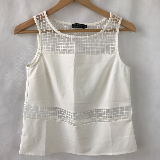 Ezra Collection - White Mesh Shirt