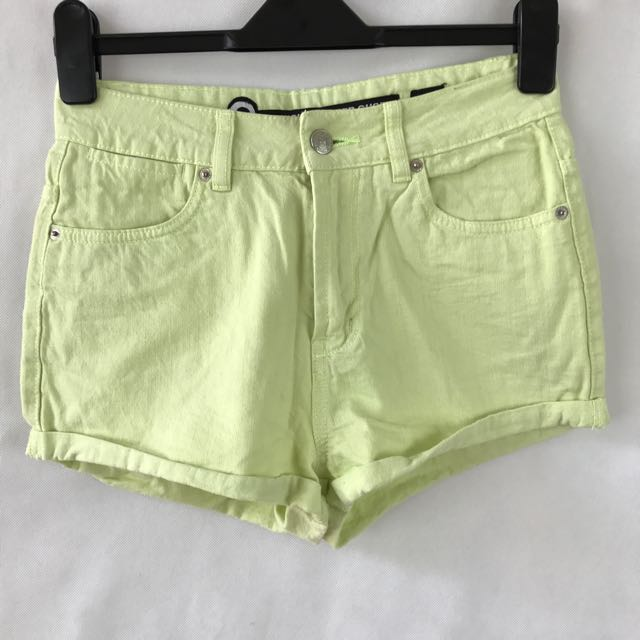 Factorie - Fluro Yellow High Waisted Denim Shorts