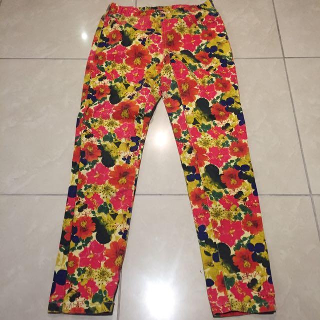 Floral Denim Leggings/ Pants