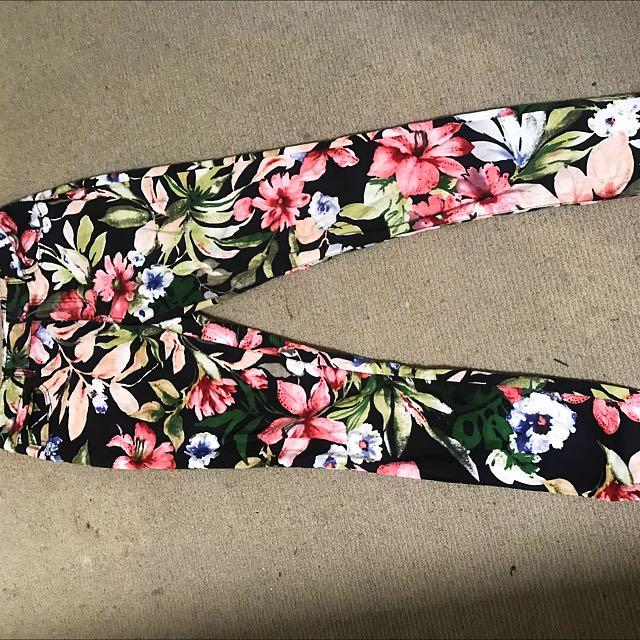 Floral Mid Waist Skinny Leg Pants