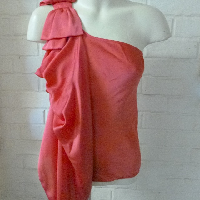Forever New One shoulder bow topBright Geranium size 8 SALE