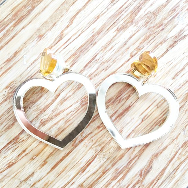 Gold Mirror Perspex Earrings