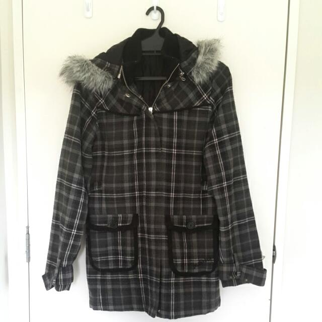 Grey Checkered Coat (Billabong)