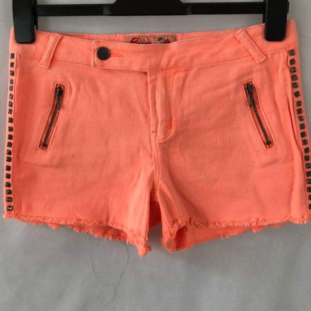 Gum - Fluro Peach Denim Shorts